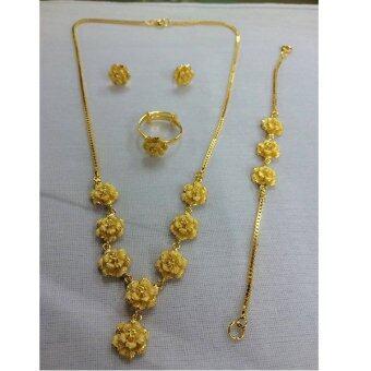ILY Accessory เครื่องประดับหุ้มทอง 100% สร้อยคอ แหวน ต่างหู สร้อยข้อมือ ลายดอกกุหลาบ