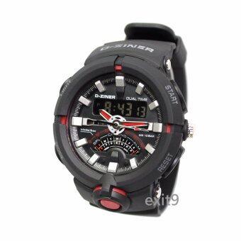 D-ZINER นาฬิกาข้อมือผู้ชาย สายซิลิโคน รุ่นDZ-8174 (ดำ-เทา)