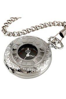 ตัวเลขโรมันยุคเงินจี้สร้อยคอสเตนเลสกระเป๋านาฬิกาควอทซ์