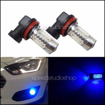 LED หลอดไฟตัดหมอก รถยนต์ H11 H8 COB LED สีฟ้า 2 หลอด