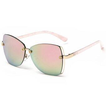 2559 ใหม่แฟชั่นแว่นตากันแดดกรอบใหญ่ผีเสื้อแว่นตากันแดดสตรียี่ห้อดังก๊าซออกแบบ UV400 óculos เดอโซลจุด CJ2 222 ที่ 05 (สีชมพู)