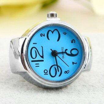เหล็กหมุนยางสร้างสรรค์แฟชั่น...นิ้วหญิงสาวนาฬิกาควอทซ์แหวนของขวัญ