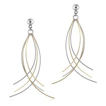 555jewelry ต่างหูแบบแป้นเสียบ สแตนเลส เส้นเล็ก รุ่น MNC-ER026-B1 - Steel/Yellow Gold