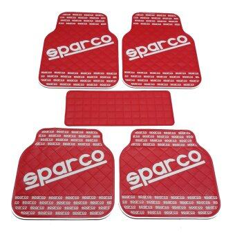 SPARCO ผ้ายางปูพื้น พรมปูพื้น 5ชิ้นเกรดซิลิโคน SPARCO (สี RED&WHITE)