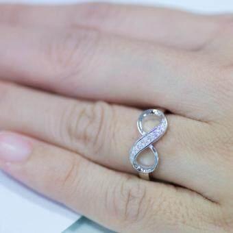 Beauty Jewelry เครื่องประดับผู้หญิง แหวนเพชร ETERNITY เงินแท้ 92.5 sterling silver ประดับเพชรสวิส CZ รุ่น RS2055-RR เคลือบทองคำขาว (image 1)