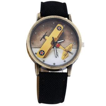 นาฬิกาข้อมือหนังผ้าใบกันน้ำการออกแบบผ้ายีนส์สีดำ