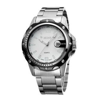 SKONE นาฬิกาข้อมือกันน้ำควอตซ์คุณภาพสูงสายสแตนเลสผู้ชาย