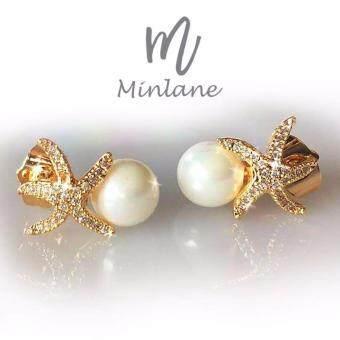 Minlane Jewelry ต่างหูมุก ประดับเพชรปลาดาวสีทอง Crystal Pearl Earring and Gold Starfish ( White and Gold ) MJ 016