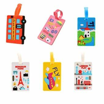 6 Pcs/ 1 Set Colourful Cute Sweety Lovely Student Silicone Luggage Bag Travel Suitcase Identifier Luggage Tags Labels Holiday Baggage Bag ID Name Address Holder - intl