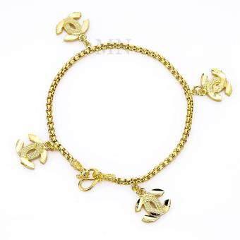 MONO Jewelry สร้อยข้อมือเศษทองตุ้งติ้งลายไขว้พ่นทราย รุ่น JJK063น้ำหนัก๑บาท
