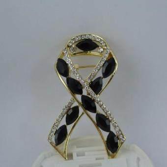 Pearl Jewelry เข็มกลัดไว้อาลัย โบว์เพชรดำ สีทอง
