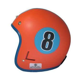 DIIFF หมวกกันน็อควินเทจเต็มใบ สีส้ม-ฟ้า