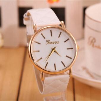 นาฬิกาสายหนังคลาสสิคที่เจนีวาผู้หญิงแฟชั่นนาฬิกาควอทซ์ (ขาว)