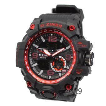 D-ZINER นาฬิกาข้อมือผู้ชาย สายซิลิโคน รุ่นDZ-8119 (ดำ)ขอบแดง