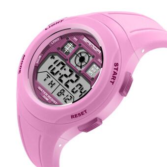 2559 คุณภาพดีที่สุดซานดา 331 เด็กนักเรียนประถมนาฬิกากันน้ำเคลือบสีกีฬา (สีชมพู)