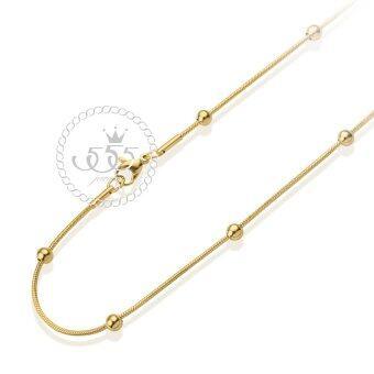 555jewelry สายสร้อยคอลาย Sneck chain แต่งด้วยบอลกลม สแตนเลสสตีล รุ่น MNC-C094-B (สี ทอง) สร้อยเปล่า