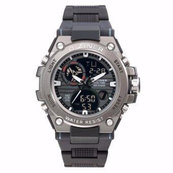 D-ZINER นาฬิกาข้อมือชาย 2 ระบบ ขีดชั่วโมง,เข็มสีขาว สายพลาสติก (สีดำ)