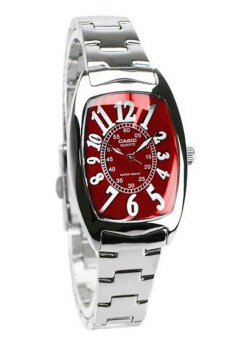 Casio Standard นาฬิกาข้อมือผู้หญิง สายสแตนเลส รุ่น LTP-1208D-4BDF - เรือนเหล็ก/หน้าแดง