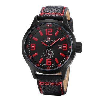 คนกันเองวันที่ Naviforce ชั่วโมงกีฬาหนังนาฬิกาข้อมือควอตซ์ (สีแดง)