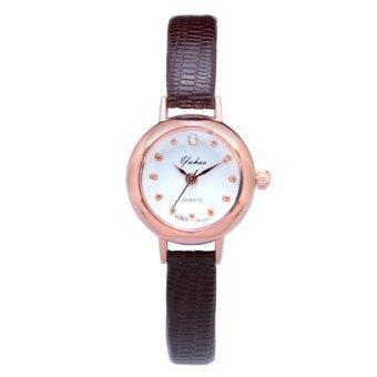 KPshop นาฬิกาผู้หญิงสายหนัง นาฬิกาข้อมือแฟชั่น นาฬิกาสำหรับผู้หญิง รุ่น LC-018 (สีน้ำตาล)