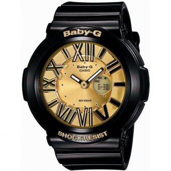 Casio Baby-G นาฬิกาข้อมือผู้หญิง สีดำ/ทอง สายเรซิ่น รุ่น BGA-160-1B
