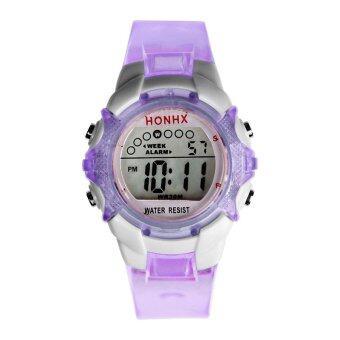 เด็กนักเรียนชายหญิงของนาฬิกาข้อมือดิจิตอลอิเล็กทรอนิกส์ทางการกีฬา-สีม่วง