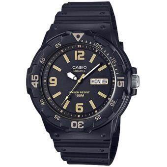 CASIO Standard นาฬิกาข้อมือผู้ชาย สีดำ/ทอง สายเรซิน รุ่น MRW-200H-1B3VDF