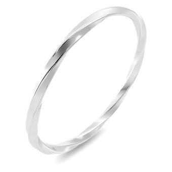 555jewelry กำไลข้อมือวงกลมคลาสสิค ลายบิดเกลียวรอบวง รุ่น MNC-BG182-A สี Steel (BG18)