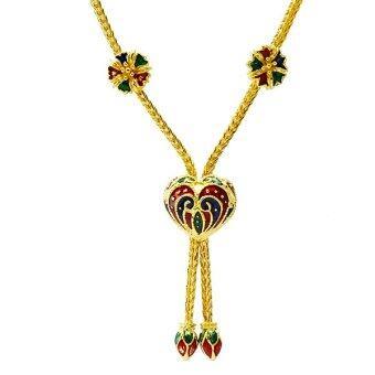 Tfine สร้อยสังวาลย์หัวใจดอกไม้ระย้าบัวลงสีสุโขทัยชุบทอง16นิ้ว
