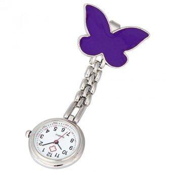 คลิปที่บนเข็มกลัดจี้ห้อยนาฬิกาสายนาฬิกากระเป๋าผีเสื้อสีม่วง