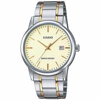 CASIO Standard นาฬิกาข้อมือผู้ชาย สีเงิน/ทอง สายสแตนเลส รุ่น MTP-V002SG-9AUDF