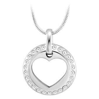 555jewelry จี้วงกลม ด้านในฉลุลายหัวใจ ประดับด้วย CZ รุ่น MNP-012T-A - White/Steel