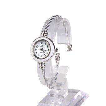 เชือกลวดเหล็กงอ ๆ แฟชั่นคล้ายคลึงนาฬิกาควอทซ์สร้อยข้อมือขาว