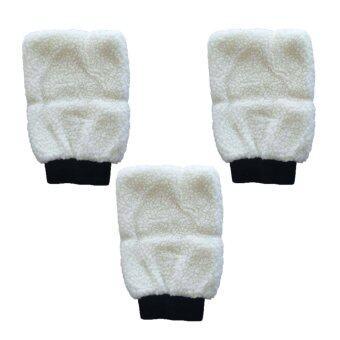 (3ชิ้น) ถุงมือล้างรถ ขนแกะเทียมสีขาว สองด้าน ถุงมือจับ ล้างขน Mitt