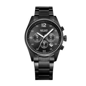MEGIR โครโนกราฟนาฬิกาแบรนด์นาฬิกาปฏิทินวันที่ผลึกโลหะนาฬิกาข้อมือด้วย