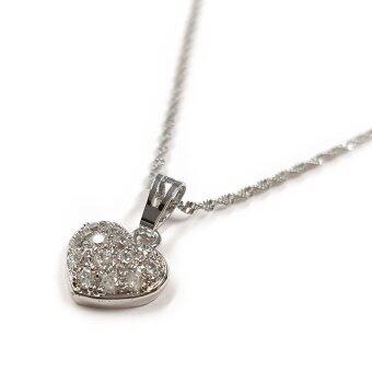 MONO Jewelry สร้อยคอ พร้อมจี้ประดับคริสตัล รุ่น JS0028 จี้หัวใจ(สีเงินกึ่งทองคำขาว)