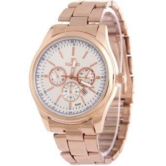 MEGA Calendar Wristwatch ปฏิทินนาฬิกาข้อมือผู้หญิง-ชาย สาย Stainless รุ่น MG0005 (White)
