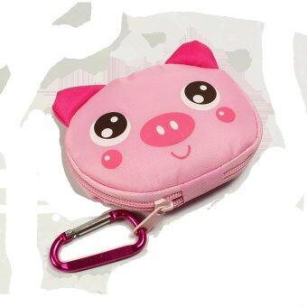 กระเป๋าผ้าพวงกุุญแจพับได้ แบบพกพา (ลายหมูสีชมพู)