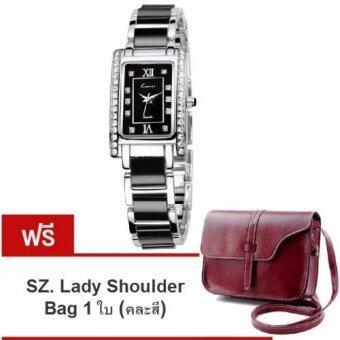 Kimio นาฬิกาข้อมือสุภาพสตรี สีดำ/เงิน สาย Alloy รุ่น KW510 (แถมฟรี SZ. Lady Shoulder Bag คละสี มูลค่า 279-)