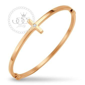 555jewelry Stainless Steel 316L กำไลข้อมือสแตนเลส รุ่น MNC-BG233CZ-C (Pink Gold)