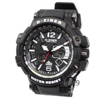 D-ZINER นาฬิกาข้อมือผู้ชาย สายซิลิโคน รุ่นDZ-8090 (ดำ)ขอบขาวเข็มแดง