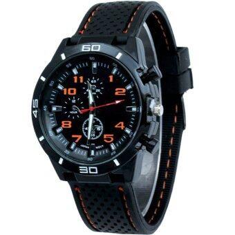 MEGA Sport Quartz Fashion F1 Racing Luxury Watch Military Army Wristwatches หรูหรานาฬิกาข้อมือ สายหนัง กันน้ำ รุ่น MG0017 (Orange)