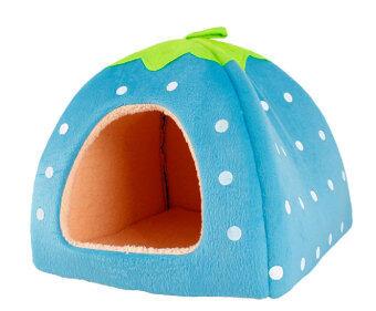 Leegoal สัตว์เลี้ยงสุนัขแมวบ้านสตรอว์เบอร์รี่กับเตียงอุ่นเบาะผ้าพลัฌ (สีน้ำเงิน M)