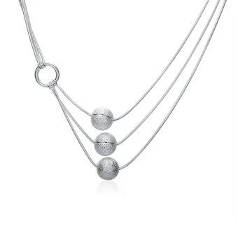 Harga Amart Sterling Silver Three Line Matte Beaded Necklace(Silver) - Intl