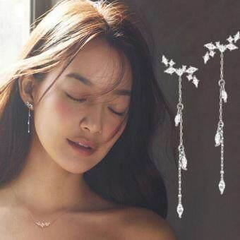 Fashion Women Long Korean Style Tassel Leaves Ear Stud Drop Dangle Hook Earrings - intl
