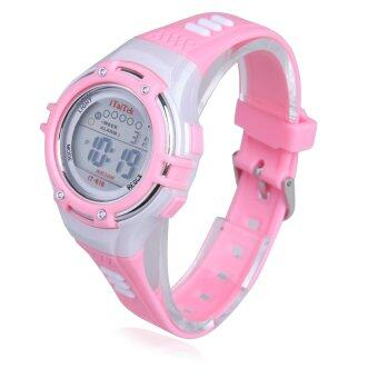 นาฬิกาข้อมือดิจิตอลเด็ก 30แผ่นกันน้ำสีชมพู