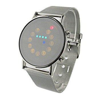 สีแดง+สีเหลือง+สีเขียว+สีน้ำเงินไฟ led นาฬิกาข้อมือแฟชั่นสเตนเลสเงิน