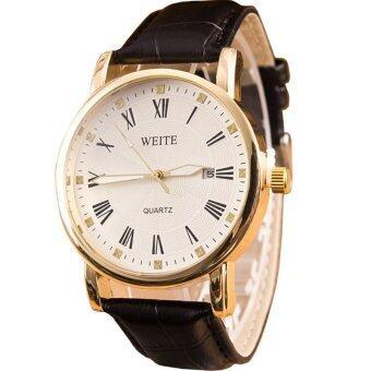 MEGA Quartz Waterproof Calendar Wristwatch หรูหรานาฬิกาข้อมือ สายหนัง กันน้ำ รุ่น MG0007 (Black/White)