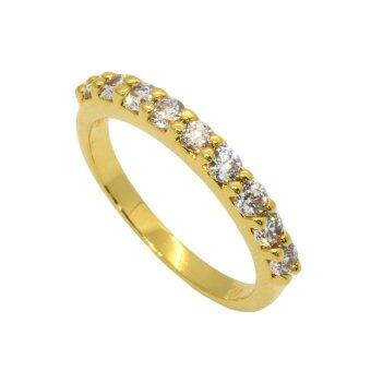 Trendy Diamond แหวนเพชร CZ หุ้มทองคำแท้ แหวนเพชรแถวเตยเล็ก - รุ่น TG005-014