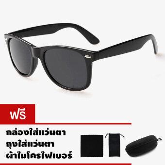 CAZP Sunglasses แว่นกันแดด Classic Wayfarer Style รุ่น 2140 Polarized กรอบดำ/เลนส์สีดำ (Black/Black) สวมใส่ได้ทั้งชายและหญิง 60mm